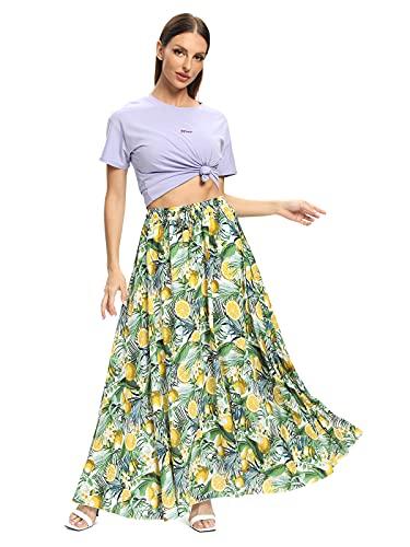 Aeslech Maxi spódnice damskie, długie letnie spódnice z elastyczną talią kwiatowa sukienka plażowa dla kobiet M