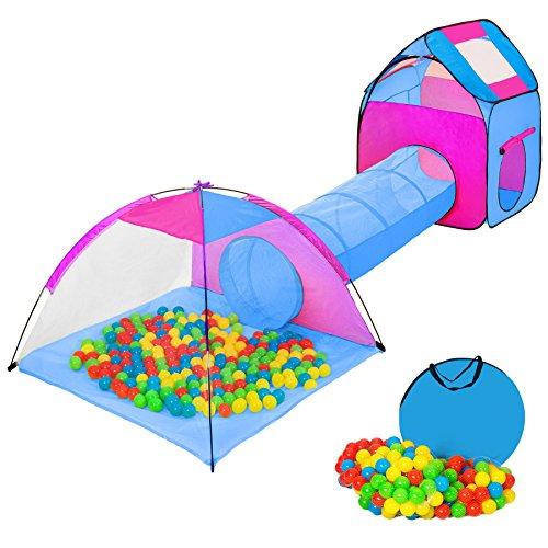 tectake Iglu Kinderspielzelt Spielhaus Kinderzelt mit Krabbeltunnel + 200 Bälle + Tasche - diverse Farben - (Pink-Blau | Nr. 401233)