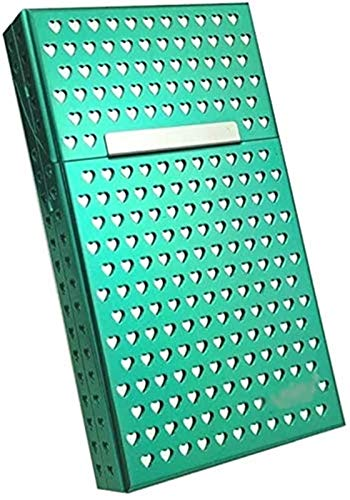 XIAOXIA En forma de corazón translúcido de doble capa de aleación de aluminio Clamshell 20 Thin Cigarrillo caso a prueba de humedad caja de cigarrillos de metal magnetizado (verde)