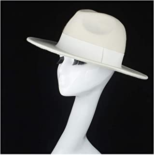 SHENTIANWEI 100% Wool Women Fedora Hat Authentic White Wide Brim Hat Elegant Lady Party Hat Fascinator Size 56-58CM
