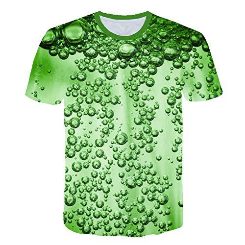 Femmes été Nouveau lâche décontracté col Rond Fruits imprimé Coton Top T-Shirt Vert-XS