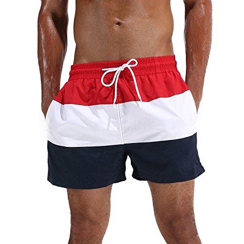Arcweg Bañador Hombre Chico Playa Poliéster Pantalon Corto Hombre Deporte Secado Rápido Bañadores Natacion Ligero Moda Shorts Rojo XL(EU)