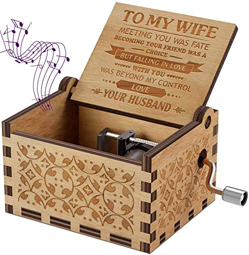 Sakruda Wooden Music Box for Wife You are My Sunshine,Gift from Husband to Wife,Hand Crank Music Box Laser Engraving Handmade Musical Box Mechanism Antique Gift for Wife on Valentine's Day,Birthday