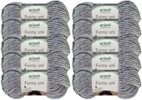 10x100 Gramm Funny Wollpaket Softgarn SB Pack Babygarn inkl. Anleitung für EIN Funny Bunny (07 Grau)