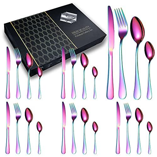 Set di Posate da Tavola Monoblocco, Acciaio Inox, per 6 Persone, 24 pezzi: 6 Forchette, 6 Cucchiai, 6 Coltelli, 6 Cucchiaini Da tè, ideale come scatola regalo per la casa e il ristorante