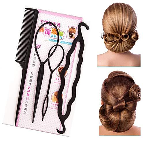 Xiton Juego de 4 herramientas de modelado rápido para el cabello y accesorios profesionales para trenzar el pelo, kit de peluquería para hacer moños para todos los estilos de cabello