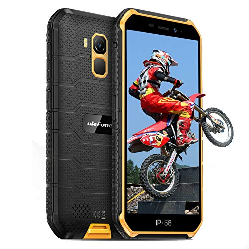 Ulefone Armor X7 Pro Outdoor Handys - Android 10 IP68/IP69K Wasserdichtes Smartphone ohne Vertrag Quad-Core 4+32GB 5,0-Zoll-Bildschirm 13MP Hauptkamera 4000mAh Batterie Fingerabdruck-ID (Orange)