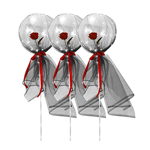 QZS 3PC LED Luminous Balloon Rose Bouquet Light Up Balloon withFairy Veils Party Balloons for Balloon Party Decoration