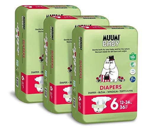 Pañales ecológicos Muumi Baby, talla 6, 12-24 KG, 108 pañales sensibilidad premium paquete mensual
