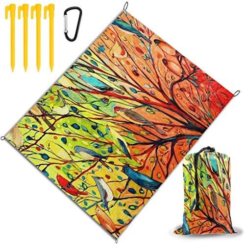 Manta Retro Tree of Life Colorful and Birds Tapete de Playa portátil para Viajes Impermeable y de Secado rápido para Viajes, campamentos, Caminatas, Festivales de música