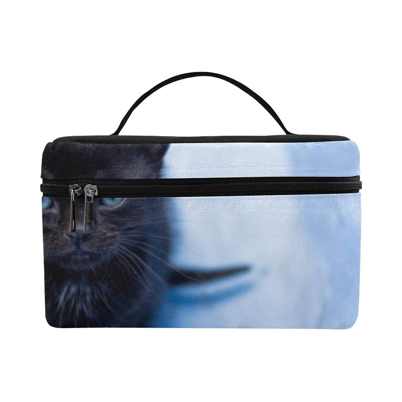 偽装する彫る湿気の多いCKYHYC メイクボックス すばしこい ブルー猫 コスメ収納 化粧品収納ケース 大容量 収納ボックス 化粧品入れ 化粧バッグ 旅行用 メイクブラシバッグ 化粧箱 持ち運び便利 プロ用