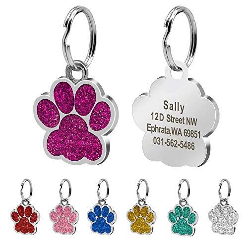 Beirui ID-Tags für Hunde und Katzen, Pfotenabdruckmotiv, personalisierbar mit Laser-Gravur, 24 mm, Edelstahl, Rose, S (0,9