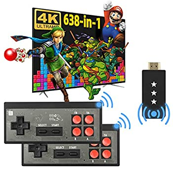 Fordim Retro Game Console Wireless Controller HDMI HD Output NES Game Console Plug and Play Video Game Console Built in 638 Classic Games Mini Portable Host with TF Expansion for Kids and Adult