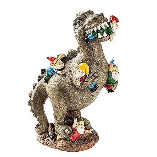 Adornos de dinosaurio de jardín Arte de interior Decoración del hogar Gnomos de dinosaurio de resina Adornos en miniatura Decoraciones divertidas para exteriores para patio Estatua de jardín Gnomos