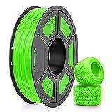 Filamento de TPU Para Impresora 3D 1,75, Filamento Flexible de TPU Negro SUNLU de 1,75 mm, Compatible con Impresora 3D FDM, Carrete de 0,5 kg, Precisión Dimensional +/- 0,02 mm (Verde)
