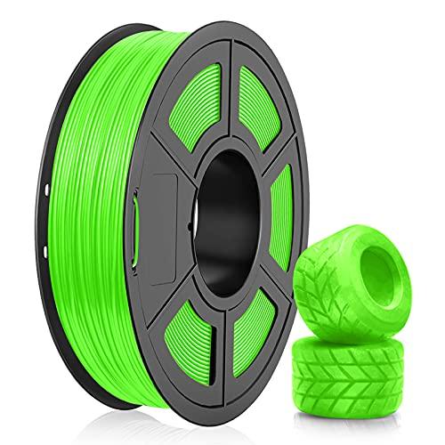 Filamento TPU Stampante 3D 1,75, Filamento Flessibile TPU Grigio SUNLU 1,75 mm, Stampante 3D FDM Adatta, Bobina 0,5 kg, Precisione Dimensionale +/- 0,02 mm (Verde)