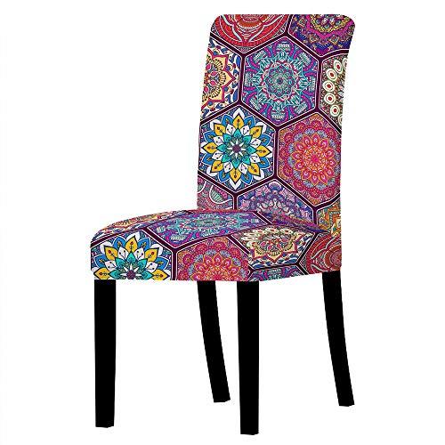 GVJKCZ Fundas para sillas,Flor de rombo Rojo Azul púrpura sillas Elásticas y Modernas Funda Asiento Silla,Extraíbles...