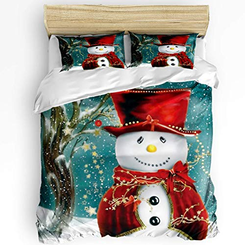 JONINOT 3-Piece Bedding Set Twin Size 86'x70' Christmas Snowman (Red Scarf Hat) Soft Comfy Lightweight Quilt Cover Pillowcases