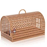 Cat Backpack Cat Cage Rattan Shoulder Strap Carriers Pet Bag Traveling Hand Made Woven Grass Mat for Small Dog