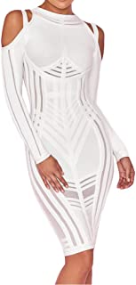 UONBOX Women's Sexy Cold Shoulder Long Sleeves Night Club Strappy Mesh Bandage Dress