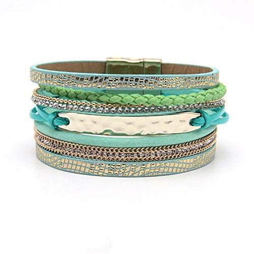 NA Armband SchmuckMultilayer Wrap Braid Leder Armbänder Für Frauen Mode Legierung Seil Chainclasp Frauen Armband Armreif Armband Schmuck Grün