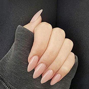 Edary Nude Pink Press on Nails Glossy False Nails Full Cover Fake Nails French Stiletto Acrylic Nails for Women and Girls 24PCS