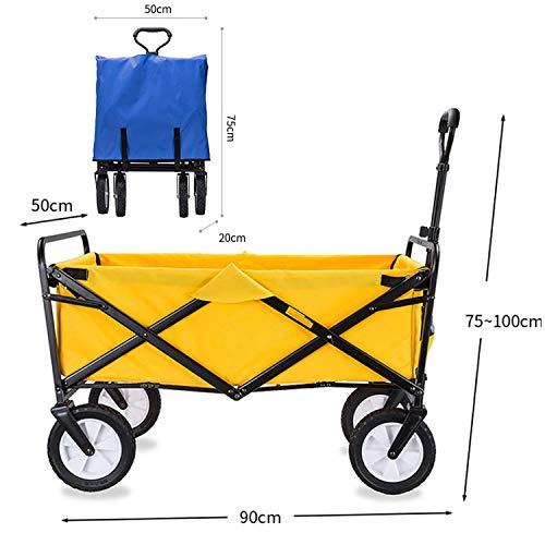 BSWL Chariot De Pliage Extérieur, Chariot Portable Multifonction, Achats De Supermarché, Le Camping Plage, Pêche Récréative, Le Jardinage (Sac en Tissu Amovible),Jaune