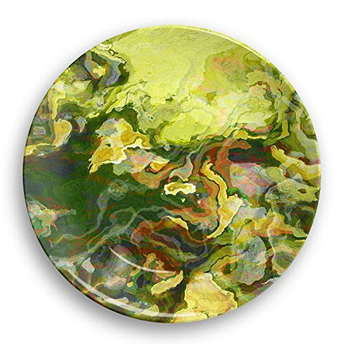 Microwave safe outdoor plate or bowl with abstract art, Lemon Tree