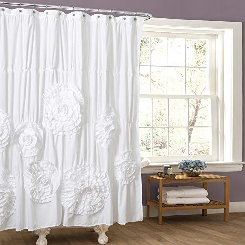Lush Decor White Serena Shower Curtain Ruffled Floral Shabby Chic Farmhouse Style Bathroom Decor x 72