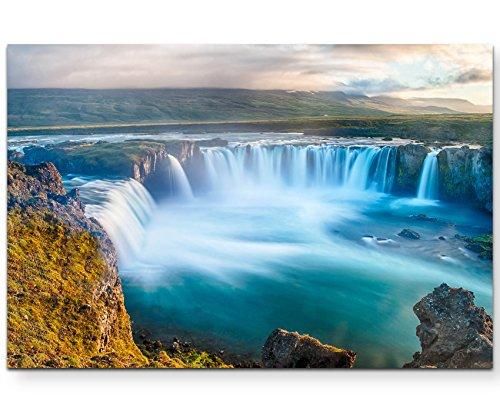 Paul Sinus Art Leinwandbilder   Bilder Leinwand 120x80cm wunderschöner Wasserfall auf Island