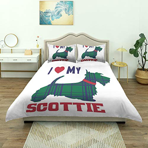 Dodunstyle Duvet Cover,I Heart My Scottie Message Tartan Pattern Built in Dog Silhouette, Bedding Set Comfy Lightweight Microfiber