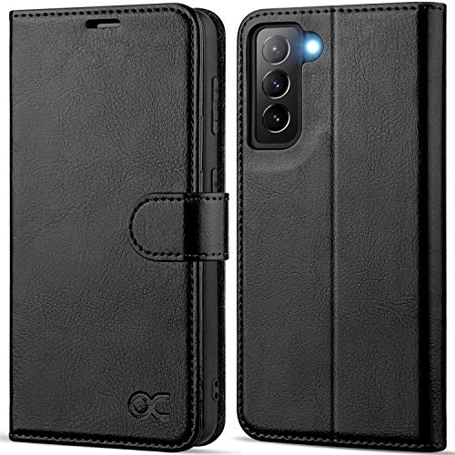 OCASE Compatible with Galaxy S21 5G Wallet Case, PU Leather Flip Folio Case with Card Holders RFID Blocking Kickstand [Shockproof TPU Inner Shell] Phone Cover 6.2 Inch (2021) - Black