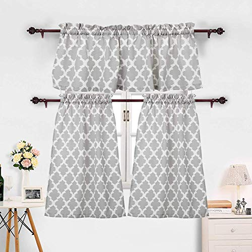 """3 Pieces Kitchen Curtains Set Moroccan Cotton Blend Kitchen Cafe Tier Curtains and Valance Geometric Printed Print Rod Pocket Small Window Curtain for Bathroom Grey (Set of 2 Panels 36"""" L Tiers)"""