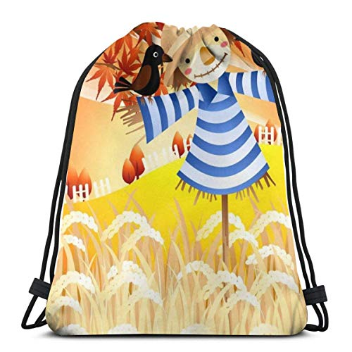Drawstring Stuff bagsGym Bag Autumn Harvest Scarecrow Adjustable Straps Drawstring Backpack Bags Personalized Cinch BagSack Cinch Bag36 X 43CM
