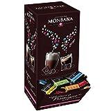 150 carrés de chocolat noir MONBANA, chocolat noir pures origines, Chocolat noir du Ghana, d'Equateur, du Costa Rica, de Papouasie et de Tanzanie. Boite distributrice 600 gr.