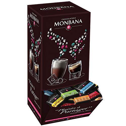 150 carrés de chocolat noir MONBANA, chocolat noir pures origines, Chocolat noir du Ghana, dEquateur, du Costa Rica, de Papouasie et de Tanzanie. Boite distributrice 600 gr.