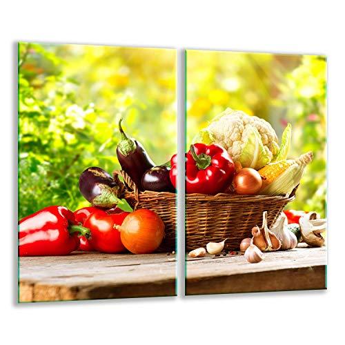 QTA | Herdabdeckplatten Set 2x30x52 cm Ceranfeld Abdeckung Glas Spritzschutz Abdeckplatte Glasplatte Herd Ceranfeldabdeckung Gemüse