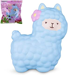 "Rosybeat VLAMPO Squishies Alpaca 6.5"", Llama Squishy Slow Rising Jumbo Squishy Stress Relief Toys Super Soft Squeeze Toys Cute Scented Fragrant Decoration Toys for Kids&Adults (Blue)"