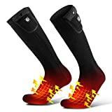 SAVIOR HEAT Upgraded Heated Socks for Men Women, Rechargeable Electric Battery Powered Heating Socks with Temperature Controller Winter Thermal Camping Foot Warmer for Cycling Hiking Hunting Skiing