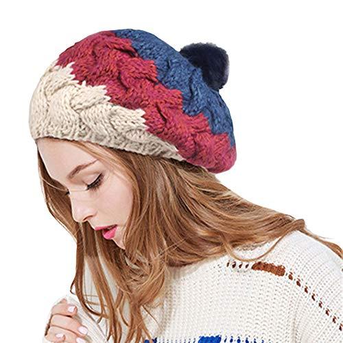 Cebbay Bonnet Chapeau,Doux Béret Baggy Chaud Casquette Mode Chic Casual Turban,Hiver Crâne Protection Chaud Wrap Hat Chapeaux Chic Headwear Beanie Cap