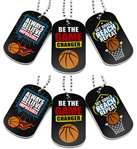 (6-Pack) Basketball Motivational Dog Tag Necklaces - Basketball Gifts in Bulk for Basketball Team Accessories - Basketball Party Favors Sports Prizes Awards for Youth Teen Boys Girls Adults Men Women