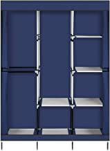 "KDJSTORE 71"" Portable Closet Wardrobe Clothes Rack Storage Organizer with Hanging Rod Shelf (Blue)"