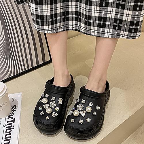 Chanclas Mujer Verano 2019,La Moda Femenina Lleva La Perla De Taladro De Agua Aumenta Las Zapatillas Planas, Los Viejos Zapatos De Playa Sordos, Las Zapatillas del BañO del JardíN Exterior-EU 40 (250