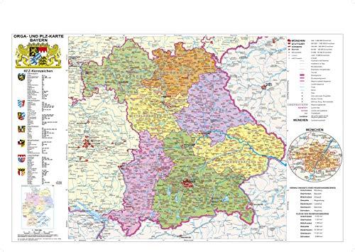 Bayern politisch mit Postleitzahlen: Wandkarte / Poster