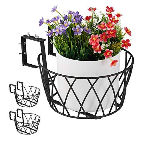Relaxdays Blumentopfhalter balcón, Juego de 3, Metal, Ajustable, Soporte para macetas para Colgar, HD 14 x 27 cm, Color Negro, Größe L