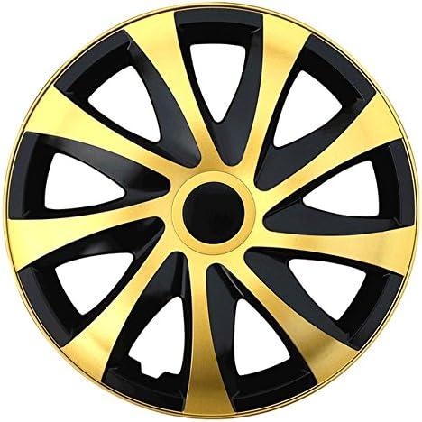 Autoteppich Stylers Größe Wählbar 13 Zoll Radkappen Radzierblenden Draco Bicolor Schwarz Gold Passend Für Fast Alle Fahrzeugtypen Universal Auto