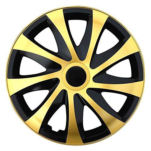 Autoteppich Stylers (Größe wählbar) 15 Zoll Radkappen/Radzierblenden Draco Bicolor (Schwarz-Gold) passend für Fast alle Fahrzeugtypen – universal