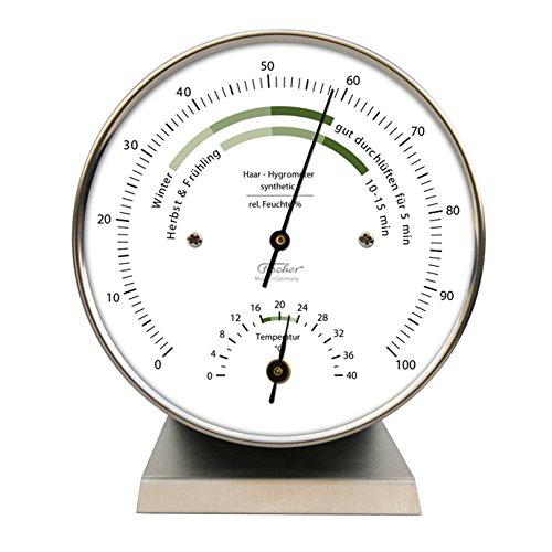 Wohnklima-Hygrometer von Fischer, Life-Serie, Edelstahlgehäuse 100mm mit Thermometer und Edelstahlsockel, Artikel 122.01HT-01, Made in Germany