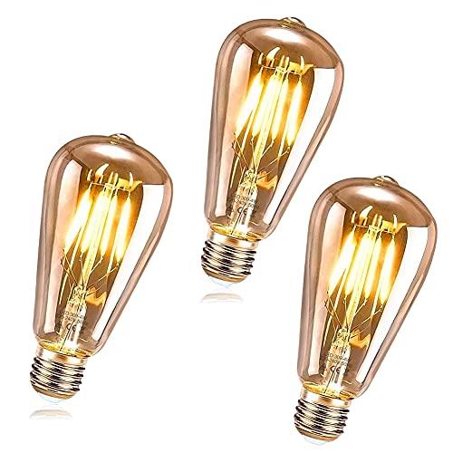 RANJIMA Ampoule LED E27 Vintage, 3 Pièces Ampoule LED Edison E27 ST64 LED Ampoule Decorative Lampe Décorative Rétro 4W Filament Blanc Chaud pour Les Nostalgiques, Décorer la Maison, Café, Bar