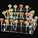KEILEOHO 56 Hole Clear Lollipop Holder, 4 Tier Acrylic Cake Pop Stand, Square Candy Holder for Weddings, Birthday Parties, Anniversaries, Halloween, Christmas Candy Decorative